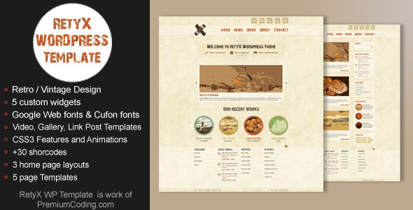 7.free and premium retro wordpress themes