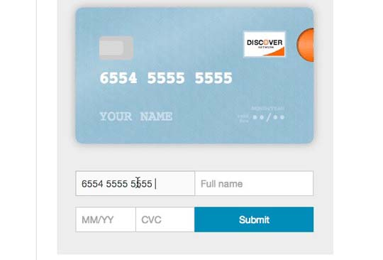 2.jquery credit card form and validator