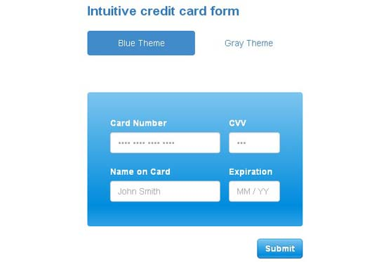 3.jquery credit card form and validator