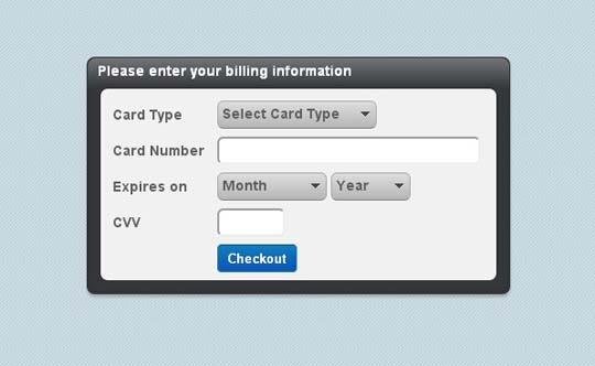 5.jquery credit card form and validator