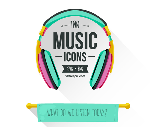 《免费下载:100个音乐主题线框Icon (SVG, PNG)》
