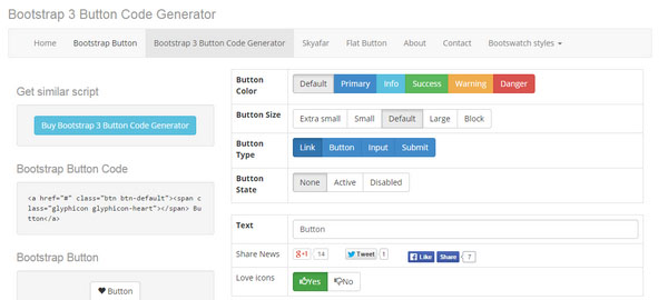 Bootstrap 3 Button Code Generator