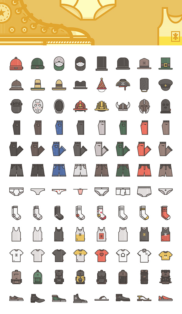 Clothes and Accessories Vector Icons
