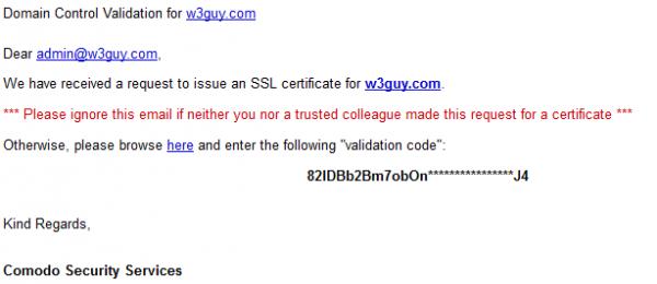 Domain validaion control