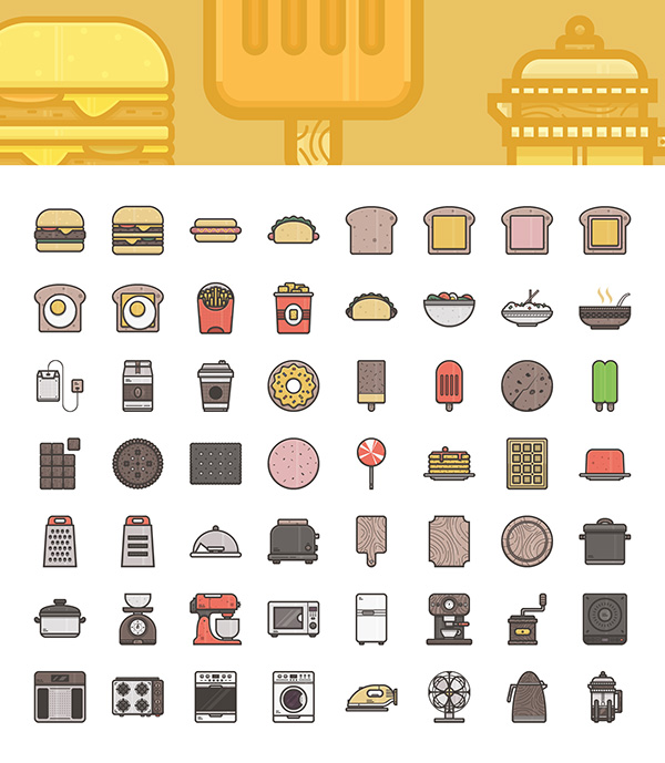 Food and Appliances Vector Icons